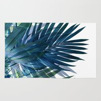 palm Area & Throw Rugs featuring Palm Leaves by cafelab