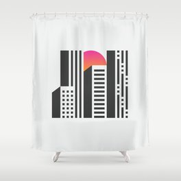 Cityscape // Architecture Minimalist Illustration Shower Curtain