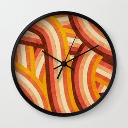 Vintage Orange 70's Style Rainbow Stripes Wall Clock