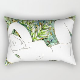 Nude with Green Flowers Rectangular Pillow