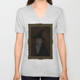 Dark Wizard portrait framed, white background Unisex V-Neck