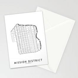 Mission District White Map Stationery Cards