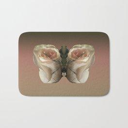 Vanilla Butterfly Roses Bath Mat