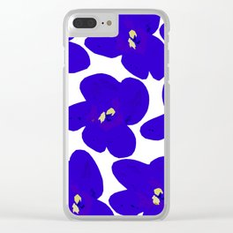 Blue Retro Flowers Clear iPhone Case
