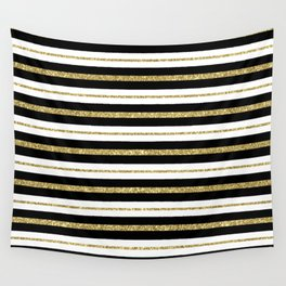Gold Black White Stripe Pattern Wall Tapestry