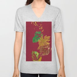 Fall Leaves with Red Background Unisex V-Neck
