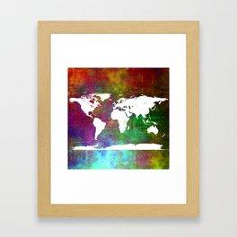 WORLD MAP #society6 Framed Art Print