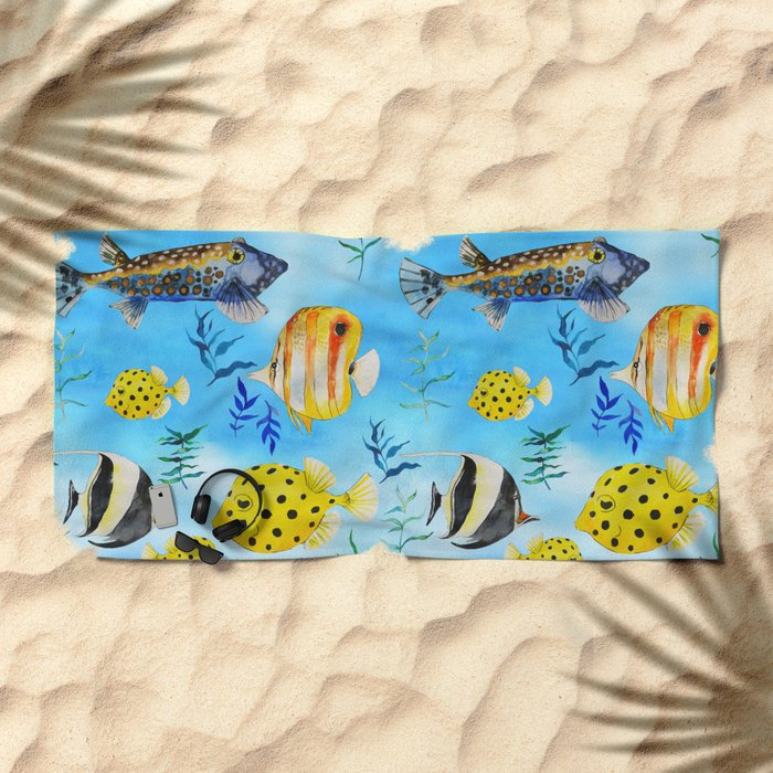 The deep sea - fishes in the sea- watercolor I Beach Towel