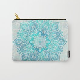 Turquoise Lace Mandala Carry-All Pouch