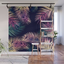 Tropical Leaves at Night Wall Mural