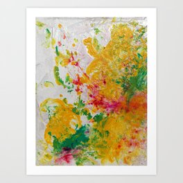 Spring Floral #1 - Yellow, Green & Pink Abstract Pring Art Print