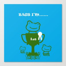 Little Frog- bags I'm first Canvas Print