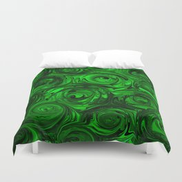 Apple Green and Onyx Glass Swirl Abstract Duvet Cover