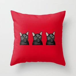 Three Black Cats on Red Throw Pillow