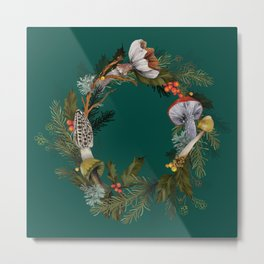 Mushroom Forest Wreath Metal Print