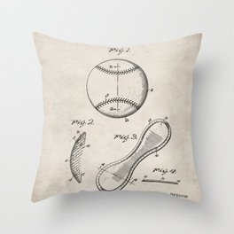 Baseball Patent - Softball Art - Antique Throw Pillow
