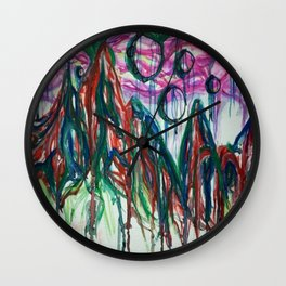 Abstract Mountain Milkyway Acrylic and Watercolor Painting Wall Clock