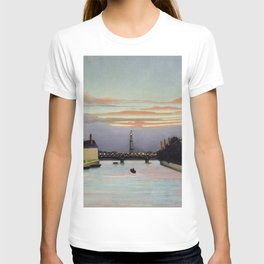 Sunset and Neon Lights at the The Eiffel Tower, Paris, France by Henri Rousseau T-shirt