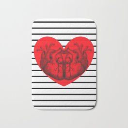 Hearts and Stripes Bath Mat