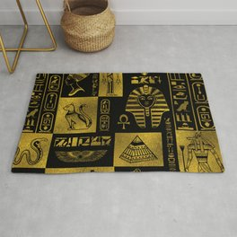 Egyptian  Gold hieroglyphs and symbols collage Rug