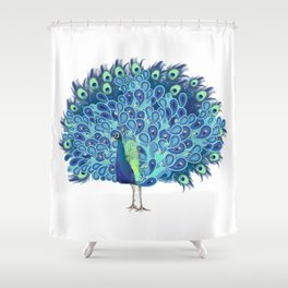 Peacock - Green and BLUE Shower Curtain