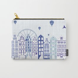 Dutch canal houses from Amsterdam in delft blue Carry-All Pouch