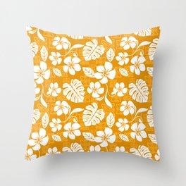 Orange & White Hibiscus Aloha Hawaiian Flower Blooms and Tropical Banana Leaves Pattern Throw Pillow