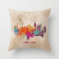 New York City Skyline  colored Throw Pillow