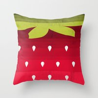 strawberry Throw Pillows featuring Strawberry by Kakel