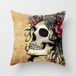 Rose Skull Watercolor Retro Tattoo Flash by Agorables Throw Pillow