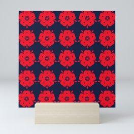 Japanese Samurai flower red pattern Mini Art Print
