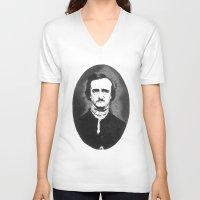 edgar allan poe V-neck T-shirts featuring Edgar Allan Poe by Daniel Point
