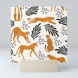 Cheetahs pattern on white Mini Art Print