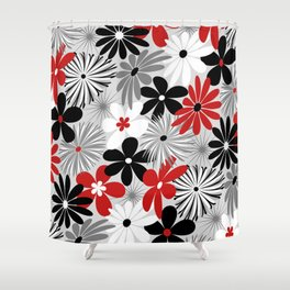 Funky Flowers in Red, Gray, Black and White Shower Curtain