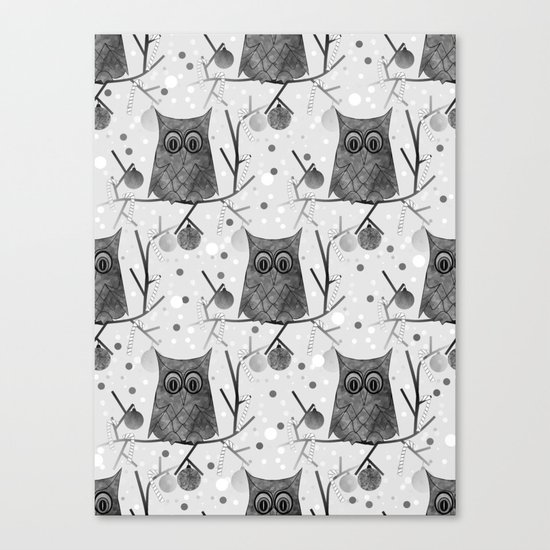 Black And White Owls Canvas Print