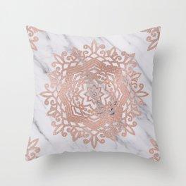 Blooming rose gold mandalas on soft grey marble Throw Pillow