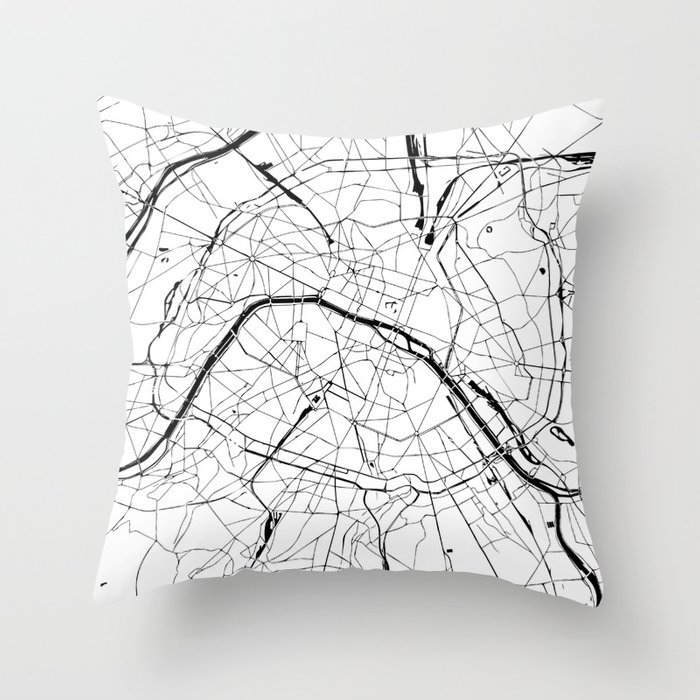 Paris Map Black And White.Paris France Minimal Street Map Black And White Throw Pillow By