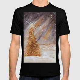 Magical Gold Christmas Tree in Snowy Night Watercolor T-shirt