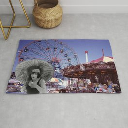 Betty and the Wonder Wheel: Coney Island Photo Montage Rug