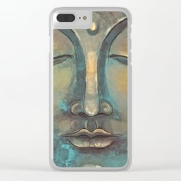 Rusty Golden Copper Buddha Face Watercolor Painting Clear iPhone Case