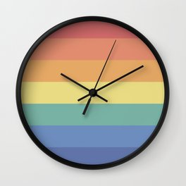 Retro Rainbow Stripes - Vintage Gradient Wall Clock