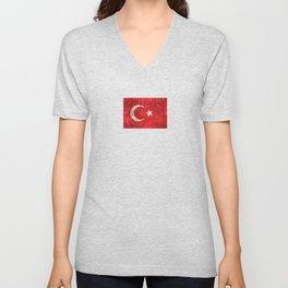 Vintage Aged and Scratched Turkish Flag Unisex V-Neck