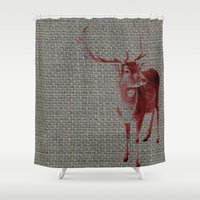 stag Shower Curtains featuring Stag by Axiomatic Art