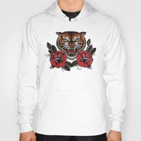 Hoodies featuring Old School Tiger and roses - tattoo by Guru
