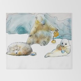 Polar Tea Party Throw Blanket