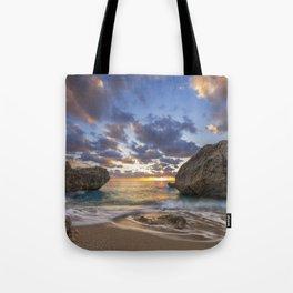 Kalamitsi beach at sunset long exposure Tote Bag