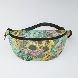 Trendy yellow sunflowers and pink roses mint design Fanny Pack