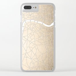 Gold on White London Street Map II Clear iPhone Case
