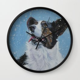 The Cardigan Welsh Corgi dog art portrait from an original painting by L.A.Shepard Wall Clock