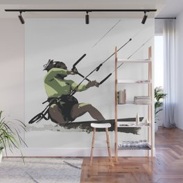 Going With The Wind Kiteboarding Vector Wall Mural